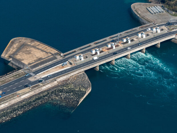 aerial view of the aerial-view-of-the-rance-tidal-power-plant