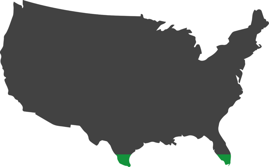 Map showing the land area of the United States of America that would have to be covered with photovoltaics in order to meet the country's energy demand.