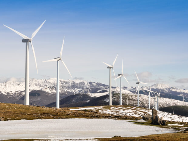 Wind turbines farm in winter, Basque Country, Spain